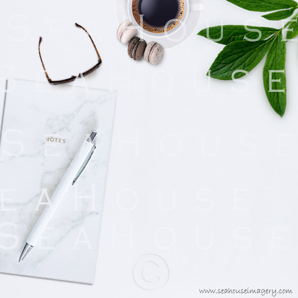 EXCLUSIVE USE 2 WM 7 Flatlay Notepad Pen Expresso Coffee Macarons x3 Greenery Sunglasses Square