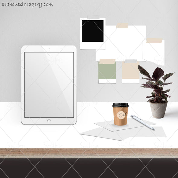 2 WM Working From Home Styled Desktop Photo Bundle IPad Tablet White Desktop Pot Plant Coffee Papers Pen Wall Notes Square