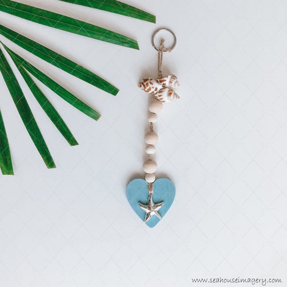 Craft Hanging Creations 3188 Key Ring Blue Heart Silver Star Wooden Round Beads Shells 20cm