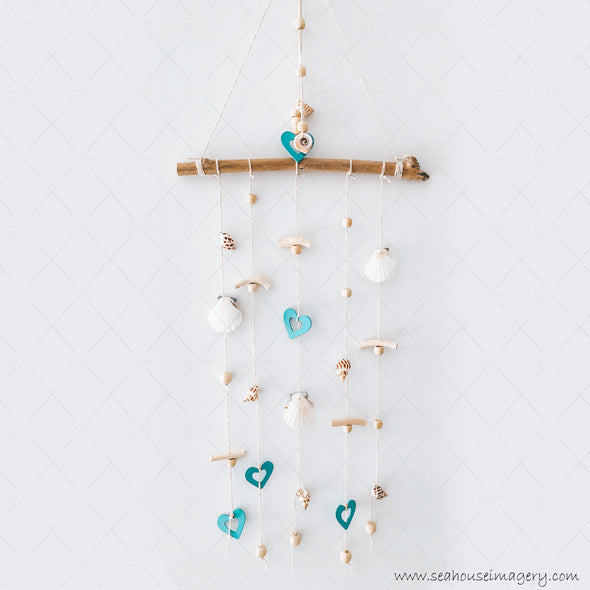 4 Craft 3433 Coastal Shell Mobile Wall Hanging Creations 3436 Blue Hearts Scallop & Swirl Shells Driftwood Varnished Beads 31cm Wide x 84cm Height