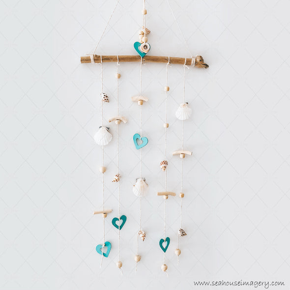 1 Craft 3436 Coastal Shell Mobile Wall Hanging Creations 3436 Blue Hearts Scallop & Swirl Shells Driftwood Varnished Beads 31cm Wide x 84cm Height