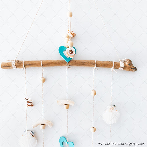 3 Craft 3438 Coastal Shell Mobile Wall Hanging Creations 3436 Blue Hearts Scallop & Swirl Shells Driftwood Varnished Beads 31cm Wide x 84cm Height