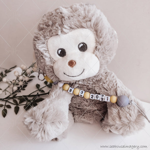 "Craft Hanging Creations 3599 Date ""8-3-2021"" Cheeky Monkey Reveal Baby Births Mustard, White Grey Beads Grey Cord 24cm"