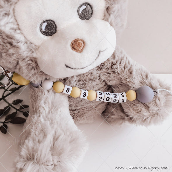 "Craft Hanging Creations 3600 Date ""8-3-2021"" Cheeky Monkey Reveal Baby Births Mustard, White Grey Beads Grey Cord 24cm"