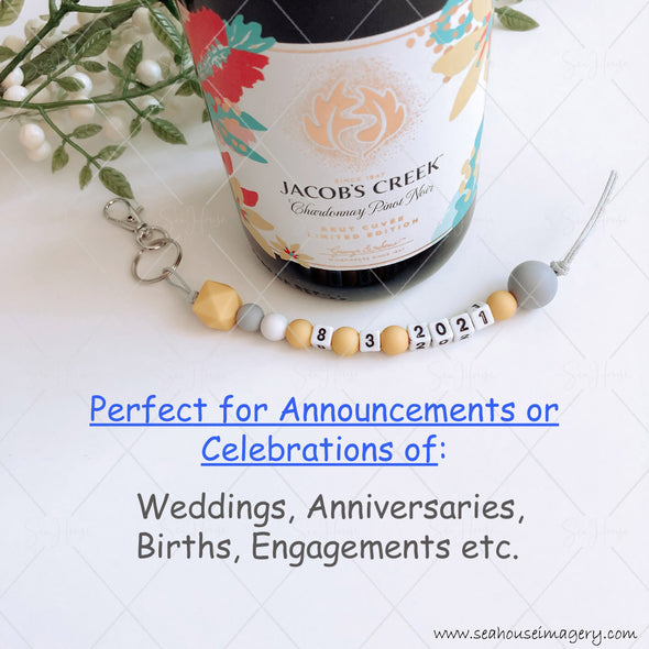 "Craft Hanging Creations 3608 Extra Text Date ""8-3-2021"" Wine & Glass Celebrate Weddings, Anniversaries, Engagements, Birthdays, Mustard, White Grey Beads Grey Cord 24cm"