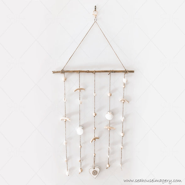 Craft Coastal Shell Mobile Wall Hanging Creations 3726 Wooden White Heart Scallop Cowrie White Shells Driftwood Wooden Natural Beads 40cm Wide x 82cm Height