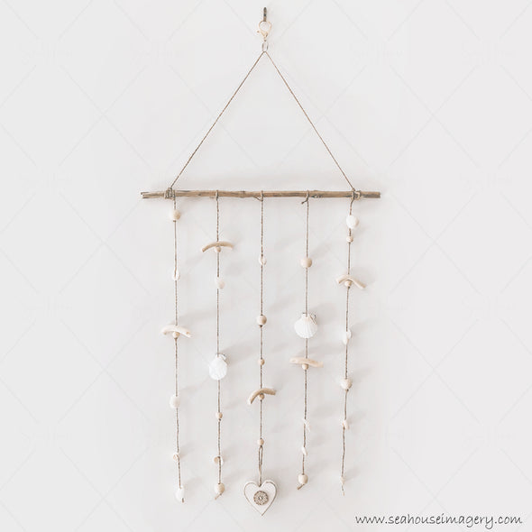 Craft Coastal Shell Mobile Wall Hanging Creations 3727 Wooden White Heart Scallop Cowrie White Shells Driftwood Wooden Natural Beads 40cm Wide x 82cm Height