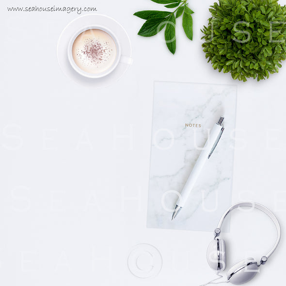 EXCLUSIVE USE 3 WM 1 Flatlay Coffee Notes Pen Headphones Greenery 9025 Square