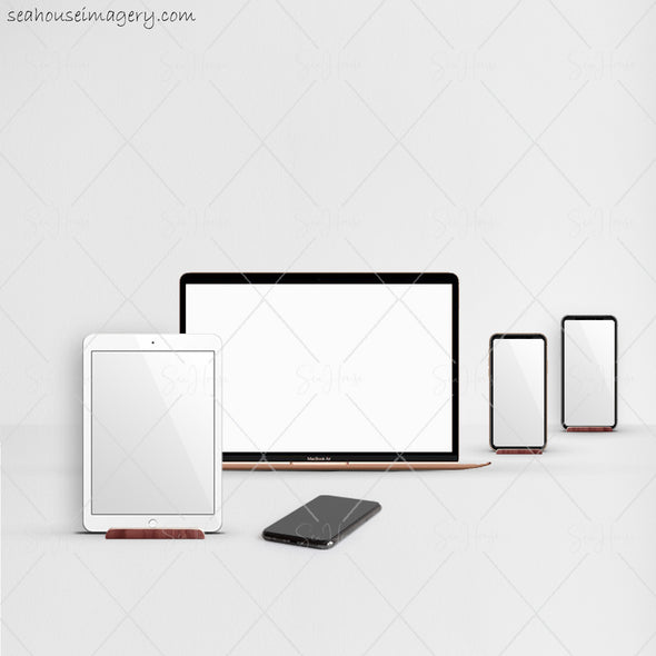 3 WM Working From Home Styled Desktop Photo Bundle MacBook IPad Two Phones Subtle Grey Walls and Desktop Square