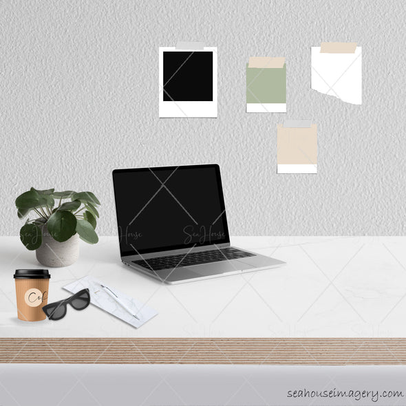 4 WM Working From Home Styled Desktop Photo Bundle Laptop Angled Marble Desktop Cement Plant Coffee Sunglasses Notes Wall Notes Square