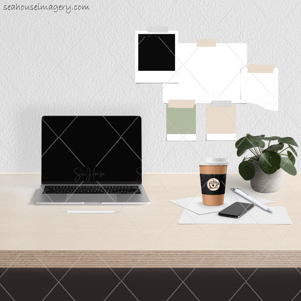5 WM Working From Home Styled Desktop Photo Bundle Laptop Textured Grey Wall Timber Desktop Pot Plant Coffee Notes Wall Notes Square