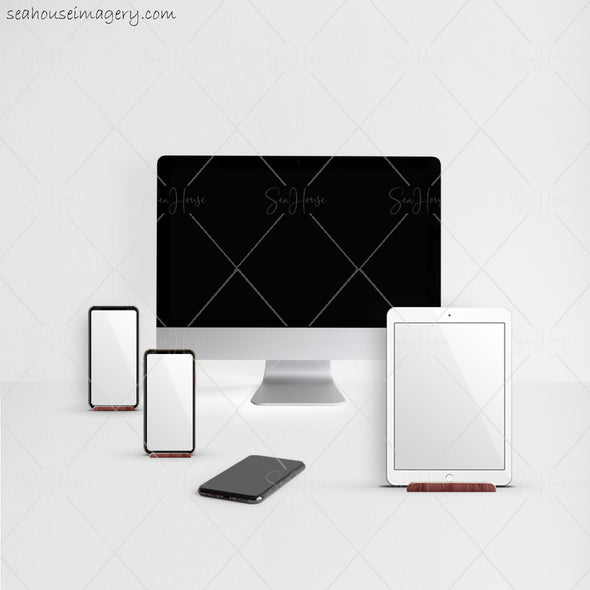 6 WM Working From Home Styled Desktop Photo Bundle IMac IPad Two Phones Subtle Grey Walls and Desktop Square