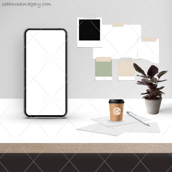 7 WM Working From Home Styled Desktop Photo Bundle IPhone White Desktop Pot Plant Coffee Papers Pen Wall Notes Square