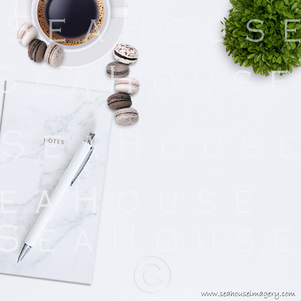 EXCLUSIVE USE 8 WM 5 Flatlay Notepad Pen Expresso Coffee Larger Macarons x3 Greenery Ball Square
