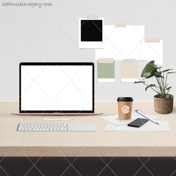 8 WM Working From Home Styled Desktop Photo Bundle MacBook Air Timber Desktop Cane Plant Coffee Papers Pen Wall Notes Square