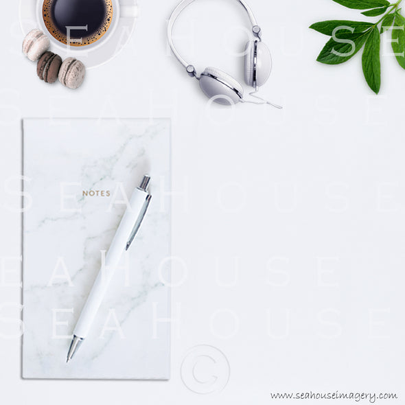 9 WM 6 Flatlay Notepad Pen Expresso Coffee Macarons x3 Greenery Headphones Square