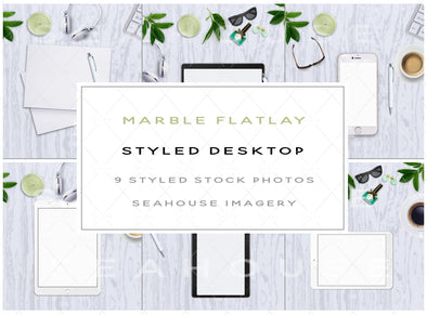 WM EXCLUSIVE USE Stock Photos Bundle Marble Flatlay Styled Desktop Main Product Image 1