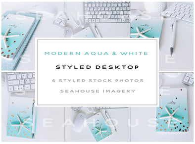 WM Bundle - Modern Aqua & White Styled Desktop