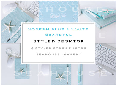 Bundle - Modern Blue & White Grateful Styled Desktop
