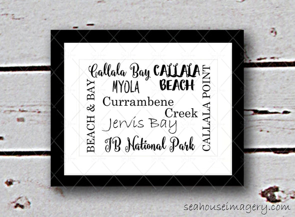 "Framed Photo Callala Beach & Surrounding Areas in Various Fonts- A4 8""x12"""