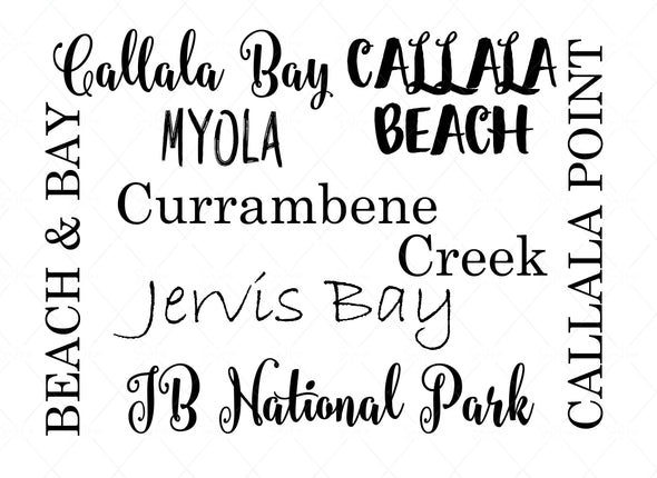 "Photo Callala Beach & Surrounding Areas in Various Fonts- A4 8""x12"""