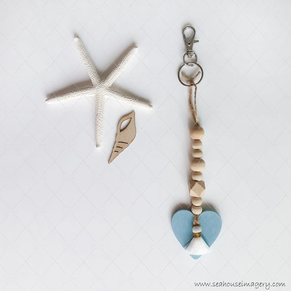 Craft Hanging Creations 3253 Key Ring Blue Heart White & Gold Tassel Wooden Round & Hexagonal Beads 19cm