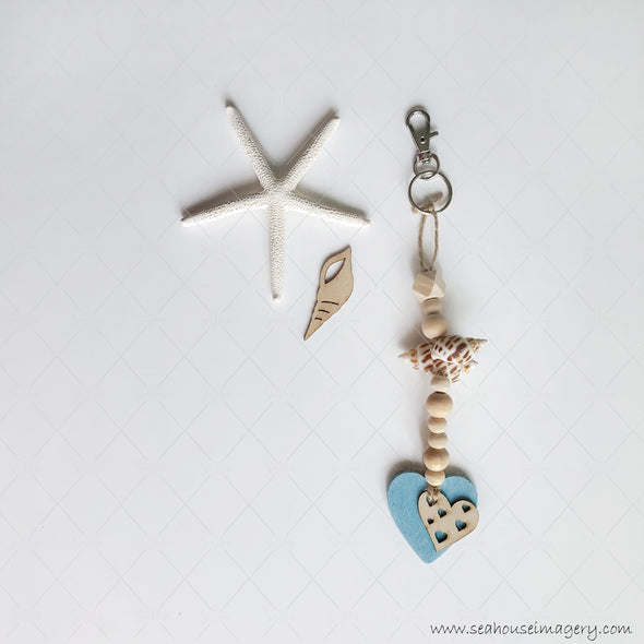 Craft Hanging Creations 3255 Key Ring Blue Heart Wooden Hearts Within Hearts Shells Wooden Round & Hexagonal Beads 20.5cm