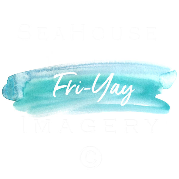 WM Fri-Yay White Text Blue Watercolour Square Size