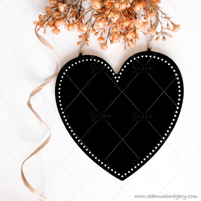Stock Photo Happy Mother's Day 3832 Blank Black Chalkboard Heart Dried Flowers Raffia Curl Square Size