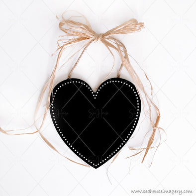Stock Photo Happy Mother's Day 3833 Blank Black Chalkboard Heart Raffia Bow at Top Square Size