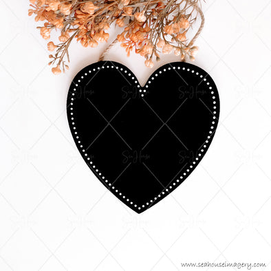 Stock Photo Happy Mother's Day 3834 Blank Black Chalkboard Heart Dried Flowers Square Size