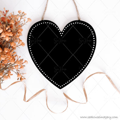 Stock Photo Happy Mother's Day 3835 Blank Black Chalkboard Heart Dried Flowers Raffia Curl at Bottom Square Size