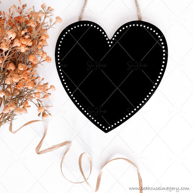 Stock Photo Happy Mother's Day 3836 Blank Black Chalkboard Heart Dried Flowers Raffia Curl on Diagonal Square Size