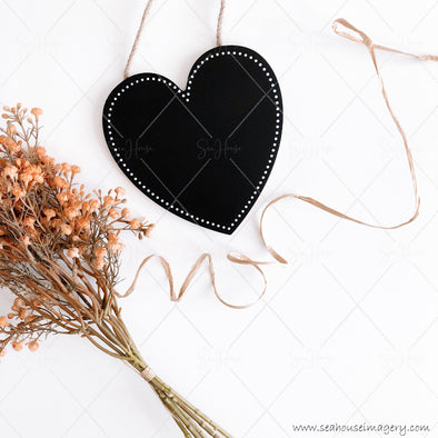 Stock Photo Happy Mother's Day 3837 Blank Black Chalkboard Heart Dried Flowers Angled Raffia Curl Left to Right Square Size