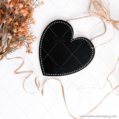 Stock Photo Happy Mother's Day 3838 Blank Black Chalkboard Heart Angled Dried Flowers Raffia Bow and Curl Square Size