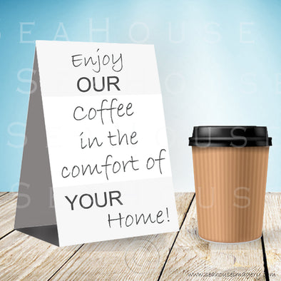 WM Enjoy Our Coffee One Cup Blue Background Grey Text 3066 Square Size