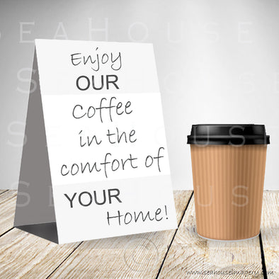 WM Enjoy Our Coffee One Cup Grey Background Grey Text 3066 Square Size