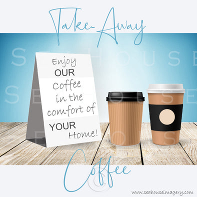 WM Enjoy Our Take-Away Coffee Two Cups Blue Background Grey Text 3066 Square Size