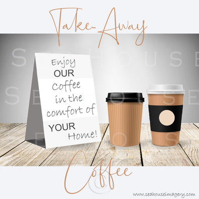 WM Enjoy Our Take-Away Coffee Two Cups Grey Background Grey Text 3066 Square Size