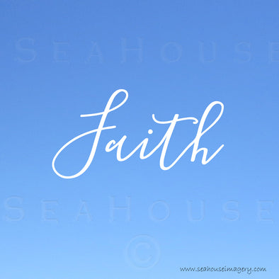EXCLUSIVE USE Faith Blue White Elegant Text Square Size