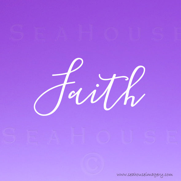EXCLUSIVE USE Faith Purple White Elegant Text Square Size