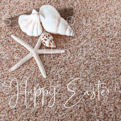 WM Happy Easter Sand Background Shells Starfish Driftwood 2570 Square Size