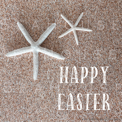 WM Happy Easter Sand Background Two Starfish 2555 Square Size