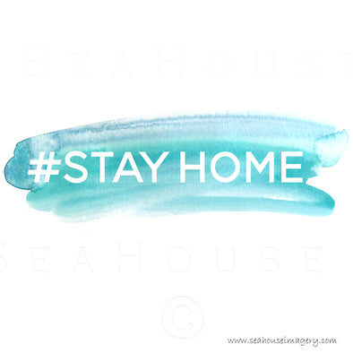 WM #STAY HOME White Text Blue Watercolour Splash Square Size