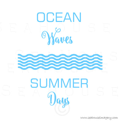 WM EXCLUSIVE USE Ocean Waves Summer Days Wave Pattern Blue Text Square Size
