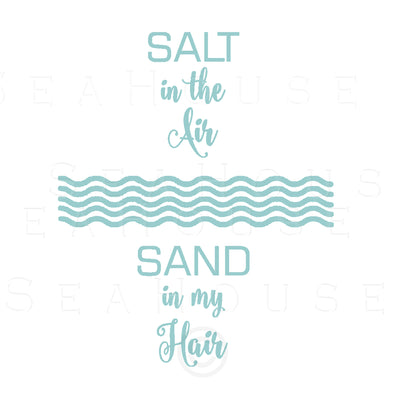 WM EXCLUSIVE USE Salt In The Air Wave Pattern Sand In My Hair Surf Green Text Square Size