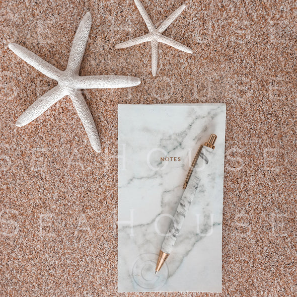 WM On Sand Two Starfish Marble Notepad Pen 2560 Square Size