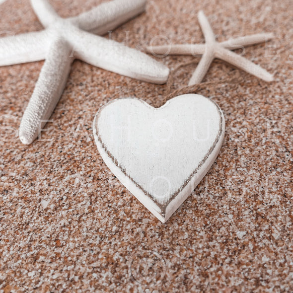 WM EXCLUSIVE USE On Sand Whitewash Heart Two Starfish 2562 Square Size
