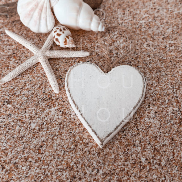 WM EXCLUSIVE USE On Sand Whitewash Heart Starfish Shells Driftwood 2569 Square Size