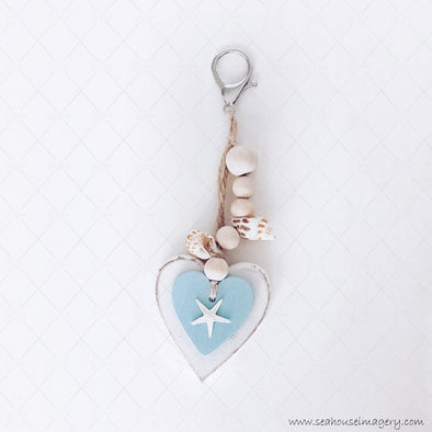 WM SeaHouse Craft Hanging Creations 2638-1 White & Blue Heart White Starfish Shell Beads 15cm For Glenda